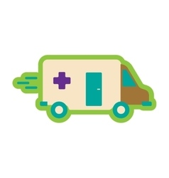 Flat icon with long shadow ambulance car vector