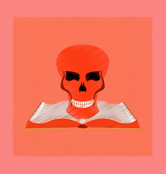Flat shading style icon book skull vector