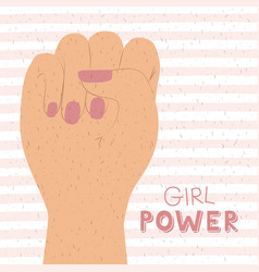 girl power poster text and hand in skin color vector image