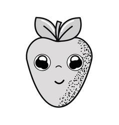 hand drawn kawaii nice happy strawberry icon vector image