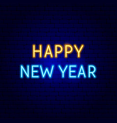 happy new year neon sign vector image