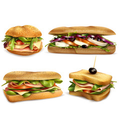 Healthy fresh ingredient sandwiches set vector