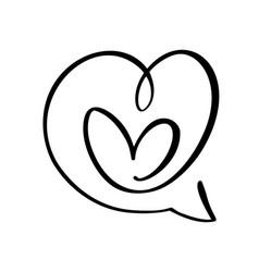 heart love icon and bubble speech symbol logo vector image