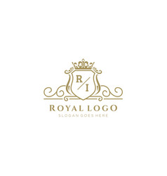 Initial ri letter luxurious brand logo template vector
