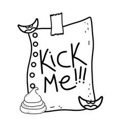 Kick me message in paper fools day vector