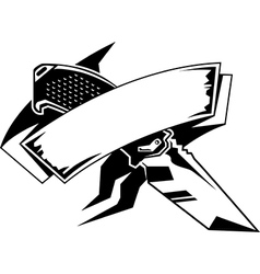 knife with banner vector image vector image