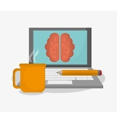 Laptop brain pencil and mug design vector