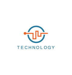 Line abstract technology logo vector