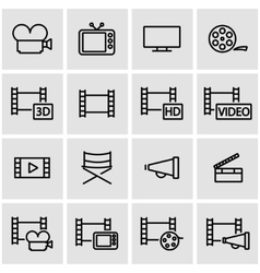 line movie icon set vector image