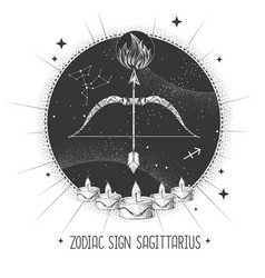 Magic card with astrology sagittarius sign vector