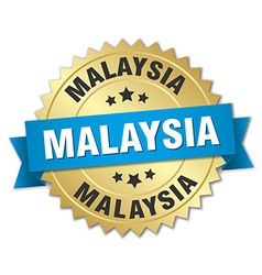 Malaysia round golden badge with blue ribbon vector image
