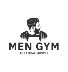 men gym logo design inspiration in black color vector image
