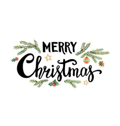 Merry christmas lettering with watercolor fir vector