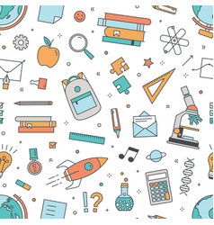 modern seamless pattern with school supplies on vector image