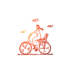 mom bike child ride parent concept hand drawn vector image