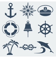 Nautical marine icons set vector