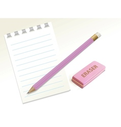 Pencil eraser notepad vector