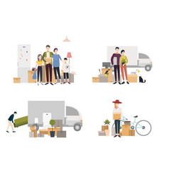People moving into a new house with things set of vector