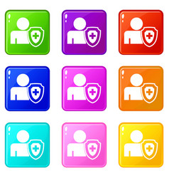 Person and medical cross protection shield set 9 vector
