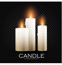 realistic 3d burining wax paraffin candles vector image