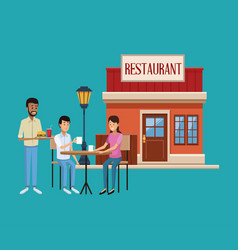 restaurant building scenery vector image
