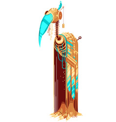 Robot-bird with yellow and turquoise feathers vector