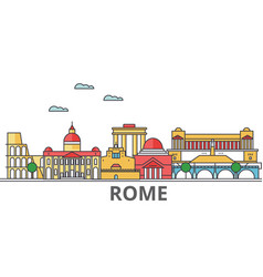 Rome city skyline buildings streets silhouette vector