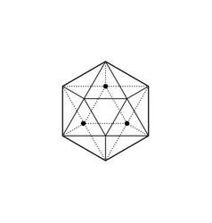 sacred geometry hexagon cube sign merkaba logo vector image
