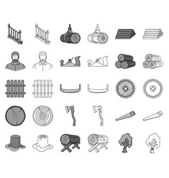 Sawmill and timber monochromeoutline icons in set vector