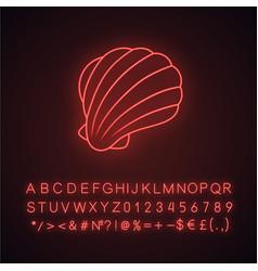 Sea shell neon light icon marine mollusk shell vector