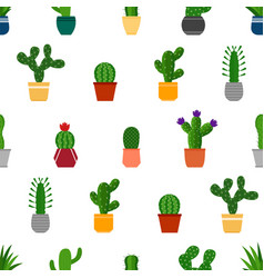 seamless background with cactuses in pots vector image
