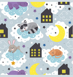 seamless pattern with sleeping animals vector image