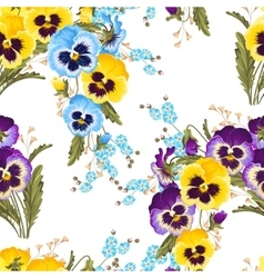 Seamless varicolored pansies vector