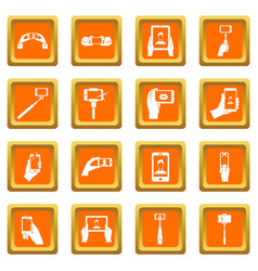 selfie icons set orange vector image