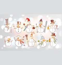 set fun doodle sketch snowmen on white glowing vector image