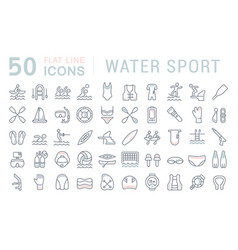 set line icons water sport vector image