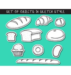 Set of 10 stickers doodle bread baking Doodle vector image
