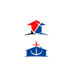 set of anchor mortgage house logo template vector image
