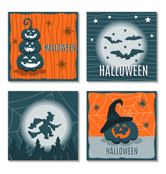 Set of greeting cards halloween vector