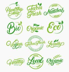 Set organic local fresh natural logos vector