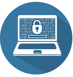silhouette laptop security flat vector image