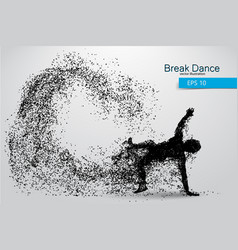 Silhouette of a break dancer from particles vector