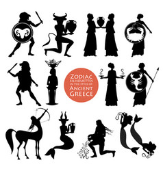 silhouettes zodiac signs in style of vector image