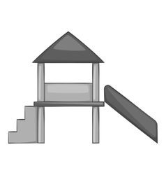 Slide house icon gray monochrome style vector image