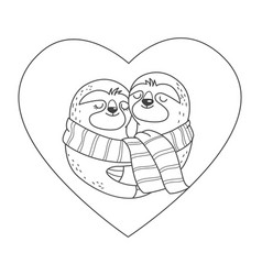 sloths in love with scarf hug each other inside vector image