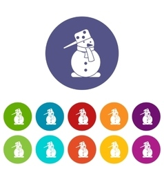 Snowman set icons vector image