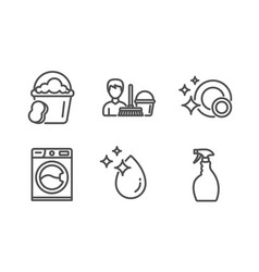 Sponge clean dishes and cleaning service icons vector