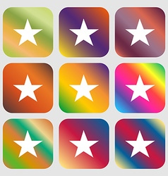 Star Favorite icon Nine buttons with bright vector