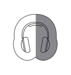 Sticker silhouette music headphones icon flat vector