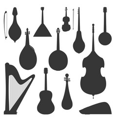 stringed dreamed musical instruments silhouette vector image